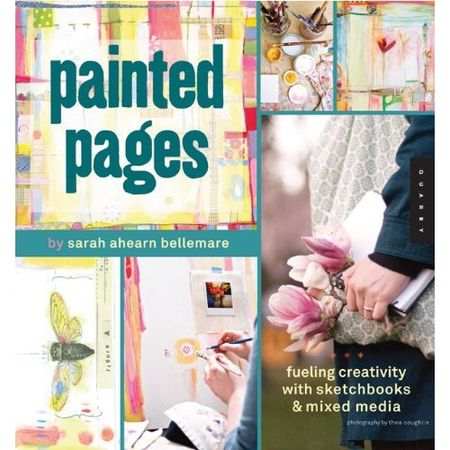Painted pages, book, collage, mixed media